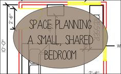 Space Planning a Small, Shared Bedroom via Whitney J Decor. Click the link if you're planning to decorate a small space. These are useful space planning tips to maximize your space!