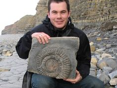 Roy Shepherd with an ammonite at Quantoxhead
