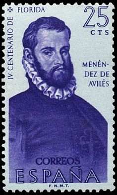 Stamp: Menéndez de Avilés (Spain) (Discovery of America) Mi:ES Postage Stamps, Discovery, The World, Postage Stamp Design, Military Uniforms, Europe, Outfits, Spanish, Stamps