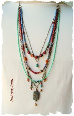 Your place to buy and sell all things handmade Gemstone Necklace, Gemstone Beads, Beaded Necklace, Bohemian Necklace, Bohemian Jewelry, Handmade Necklaces, Jewelry Necklaces, Modern Hippie, Multi Layer Necklace