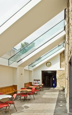 church 'courtyard' love this big skylight