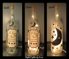 I love you to the moon and back Wine Bottle Night Light - pinned by pin4etsy.com