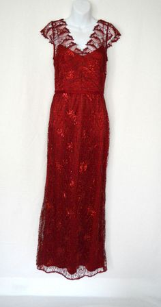 Alternative Wedding Gown. Jessica Rabbit!!  $655 KAY UNGER Scarlet Red Lace Sequin Satin Evening Long Gown Jessica Rabbit 12