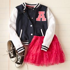 what a cute little girl outfit....(pink tutu/sneakers/letter man jacket...all it's missing are TUBE SOCKS) zulily | Daily deals for moms, babies and kids