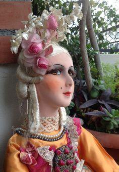 Antique French boudoir Doll / Poupée Boudoir Orange Silk dress antique / Fashion doll/ Romantic doll