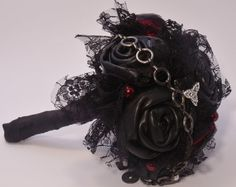 Black Leather Gothic wedding bouquet by ChasingRubies on Etsy, £50.00