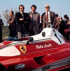 Clay Regazzoni, Niki Lauda ed Enzo Ferrari a Maranello Ferrari 312T 1976