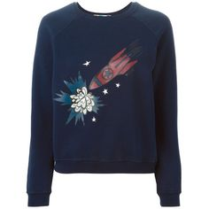 MSGM Rocket Motif Sweater ($152) ❤ liked on Polyvore featuring tops, sweaters, blue, blue top, cotton sweaters, blue sweater and msgm