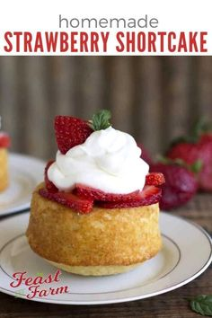 This homemade strawberry shortcake recipe takes one bowl, no mixer and makes a light, fluffy dessert--give up on those pre-made ones--you'll never go back! Mini Desserts, Strawberry Desserts, Just Desserts, Delicious Desserts, Strawberry Summer, Cupcakes, Cupcake Cakes, Mini Cakes, Homemade Strawberry Shortcake