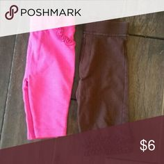 KIDS: 0-3 M Pants Bundle Both pairs are in excellent condition. Brown pair is by George, pink is by Garanimals. Pink pair is like Jeggins, Brown pair is a little longer with more of 'bootcut' style and decorative trim. Both are 0-3 months and do actually fit the same size/age baby. George Bottoms Leggings