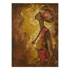 NOVICA Signed Impressionist Painting of a Woman from Ghana (2.850 NOK) ❤ liked on Polyvore featuring home, home decor, wall art, brown, impressionist paintings, paintings, novica home decor, woman painting, brown wall art and novica