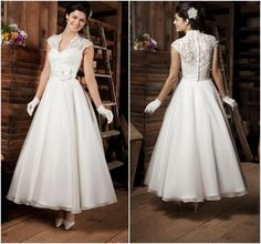 Buy Elegant 2015 Tea-length Wedding Dresses High Neck Cap Sleeves Handmade Flowers Satin Ribbons A-Line Bridal Gowns Online with the Low Price: $94.25 | DHgate.com