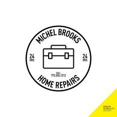 Toolbox Logo, Home Repairs Logo, Renovations Logo, Handyman Logo, Circle Logo, 24 Hours Service Logo with Phone Number, Contact Logo Sticker