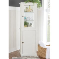 Apothecary Tall Cabinet White - Keep your bathroom neat and organized with the attractive Apothecary Tall Cabinet. This easy-to-assemble cabinet offers ample storage space in minimal floor space, holding multiple shelves great for toiletries and more. Toilet Storage, Bathroom Storage, Bathroom Ideas, Cabinet Shelving, Tall Cabinet Storage, Storage Cabinets, Open Shelving, Bathroom Cabinets, Bathroom Furniture