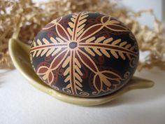 Trypillian Egg hand painted batik style chicken egg, Ukrainian Easter egg pysanka