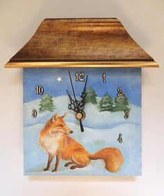 Unique hand painted small wall clock Ready to hang This is funny little wall clock designed and manufactured by artist Przemila Koscielna (P.Pizl)  The clock face is an ORIGINAL OIL PAINTING showing a winter landscape with a fox. Title: Winter Fox This funny small clock is hand painted with oil paints on the clock face. Colors: teal, brown and gold Painted on wooden panel Painting is signed. size of painted face : 15 x 15 cm = 6 x 6 inch #clock #wallclock #christmas #winter #decorationideas…