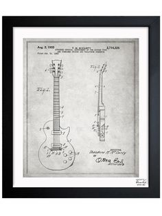 Les Paul Guitar Framed Print by Oliver Gal