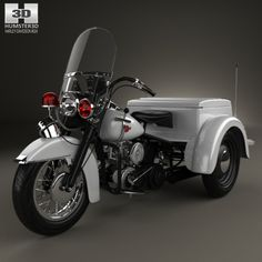 Harley-Davidson Servi-Car Police 1958 by The model was created on real car base. It's created accurately, in real units of measurement, qualitatively and maximally clos Trike Motorcycle, Motorcycle Parts, Harley Davidson Trike, Davidson Bike, Custom Trikes, Beetle Car, Chopper Bike, 3rd Wheel, Emergency Vehicles