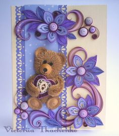 Love quilling card - St. Valentine quilling card - Quilling Greeting card - Perfect gift - Sweet bear on violet background