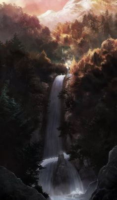 Anime Scenery, Waterfall, Outdoor, Scenery, Outdoors, Waterfalls, Outdoor Games, Rain, Outdoor Life