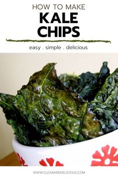 A simple recipe for how to make kale chips! These kale chips turn out salty, crunchy, and delicious. Baked in an oven until they're perfectly crispy, this healthy homemade snack is so easy to make. Check out the video to see how it's done! (Gluten Free, Vegan,   Low Carb) Healthy Homemade Snacks, Healthy Low Carb Recipes, High Protein Recipes, Healthy Sweets, Vegetarian Recipes, Snack Recipes, Keto Recipes, How To Make Kale, Food To Make