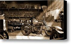 Old Motorcycle Shop Stretched Canvas Print / Canvas Art By Mike Mcglothlen