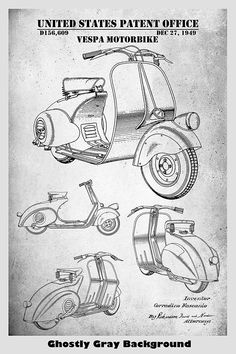 Vespa Scooter Patent Print Art Poster – Patent Prints and More Vespa Scooters, Scooter Scooter, Kombi Pick Up, Scooter Drawing, Perspective Sketch, Patent Drawing, Circle Art, Patent Prints, Art Sketches