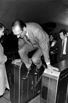 Former French President Jacques Chirac sneaking a free ride in Paris Métro