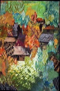 Elizabeth Barton Art Quilts - amazing way to use shibori fabrics! Textile Fiber Art, Textile Artists, Landscape Art Quilts, Landscapes, Quilting Projects, Art Quilting, Quilt Art, Watercolor Quilt, Sensory Art