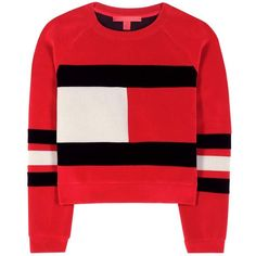 Tommy Hilfiger mytheresa.com Exclusive Flag Scuba Velvet Cropped... ($295) ❤ liked on Polyvore featuring tops, sweaters, red, red cropped sweater, velvet crop top, tommy hilfiger sweater, velvet sweater and tommy hilfiger
