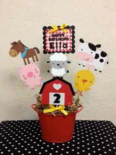 Farm Barnyard Birthday Centerpiece Baby Shower by TheGirlNXTdoor Party Animals, Farm Animal Party, Farm Animal Birthday, Farm Birthday, 3rd Birthday Parties, Birthday Ideas, Farm Themed Party, Barnyard Party, Farm Party