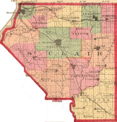 St. Clair County, Illinois 1870 Map Belleville, East St. Louis, Waterloo, Lebanon, Maseoutah, Freeburg, Fayetteville, New Athens, IL