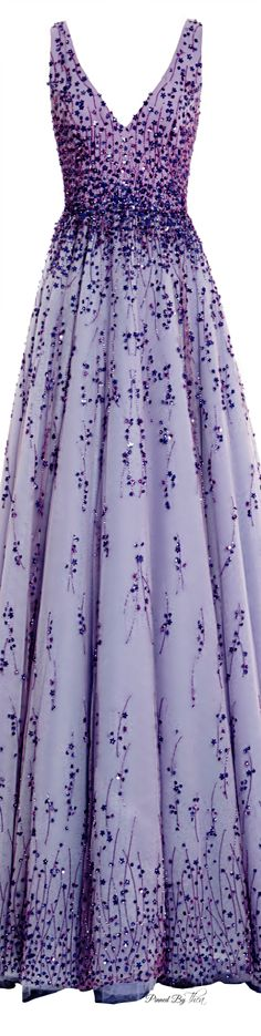 Monique Lhuillier ● SS 2015, Violet Tulle Ball Gown                                                                                                                                                      More