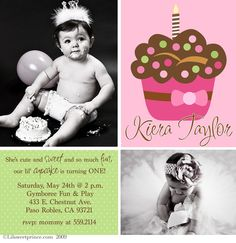 Polka Dot Cupcake First Birthday Invitations