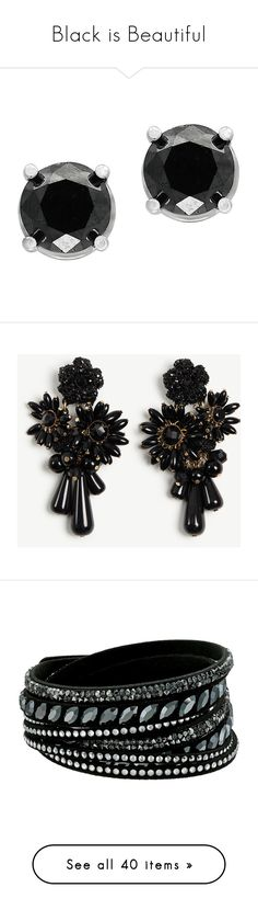 """""""Black is Beautiful"""" by pauirh ❤ liked on Polyvore featuring jewelry, earrings, white gold, stud earrings, black diamond earrings, post earrings, black diamond jewelry, 14k jewelry, accessories and joias"""