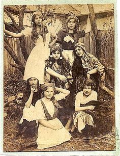 Young Jewish girls dressed as gypsies for Purim, 1927 (Lutowiska, Poland)