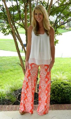 Bright flowy wide leg palazzo pants.  Get similar ones for only $14.99 on Amazon.