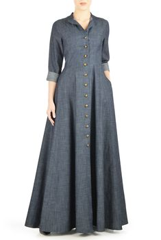 Our cotton chambray shirtdress is capped with a mandarin  collar and the seamed waist nips in the silhouette above a full skirt that gently swishes as you move.