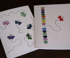 DIY: kort med fjärilar av hjärtan.