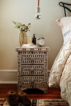 Bedroom - mono - wood - pattern - light - duvet - storage - rug