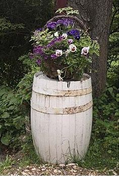 Using old barrels in the garden