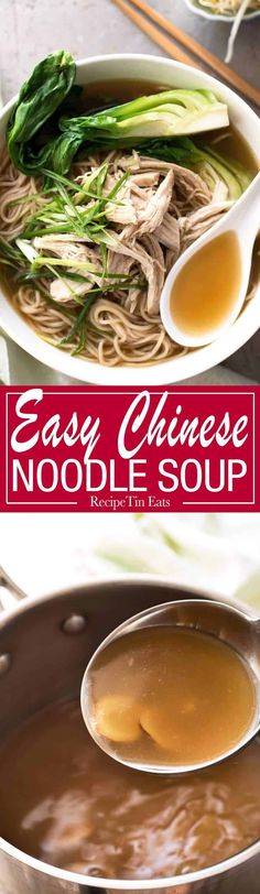 Easy Chinese Noodle Soup A fast and easy PROPER Chinese soup broth is the key to a noodle soup that tastes as good as what you get at restaurants. Just 20 minutes to make! Chinese Cooking Wine, Asian Cooking, Soup Recipes, Cooking Recipes, Chili Recipes, Asian Recipes, Healthy Recipes, Recipetin Eats, Asian Soup