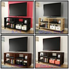 Game console stand rolling media table bookcase entertainment center portable cabinet video system s Tv Stand Bookshelf, Bookshelves With Tv, Console Shelf, Console Table, Bookcase, Center Console, Cd Storage Units, Dvd Storage, Armoire