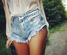 Denim + Lace :: Boho Style :: Festival :: Shorts + Cardigans :: Jackets :: Ripped Jeans :: Distressed + Tan :: Free your Wild :: See more Untamed Denim Style Inspiration Studded Shorts, Studded Denim, Festival Mode, Festival Fashion, Festival Style, Festival Shorts, Festival Wear, Ashley Tisdale, Glam Rock