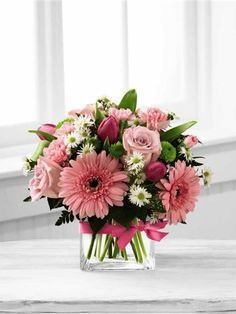 Pink Flowers In A Vase. Blooming Vision Bouquet. FTD B29-4805