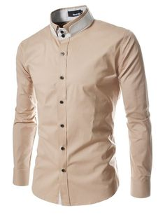 TheLees DCH Mens unique double collar shirts Lightbeige US XS(Tag size M)