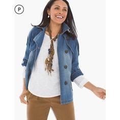 69b4f2d8fec Chico s Women s Petite Modern Denim Trench Jacket