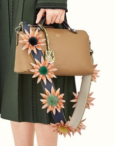 7acd240187 FENDI STRAP YOU - Shoulder strap in blue leather with macro flowers - view  2 detail