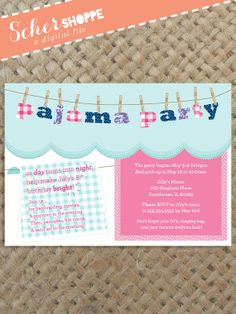 Pajama Party Birthday Invitation // Slumber Party // Sleepover Party // digital, printable, custom fil