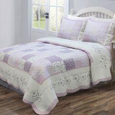 Queen Floral Print Patchwork Quilt Set Bedspread Comforter Blanket Bedding NEW Purple Quilts, White Quilts, Purple Bedspread, Queen Size Quilt, Ideas Hogar, Patchwork Designs, Patchwork Patterns, Quilt Designs, Quilting Patterns